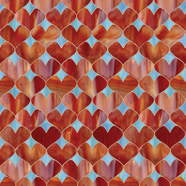 Hearts, a waterjet jewel glass mosaic, shown in Garnet and George, is part of the Erin Adams Collection for New Ravenna Mosaics.