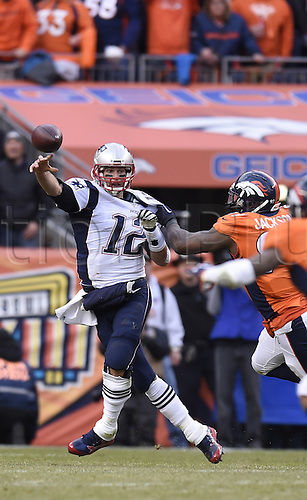 24.01.2016. Denver, Colorado, USA. The NFL AFC Championship American Football match. Broncos defensive end Malik Jackson forces Patriots quarterback Tom Brady to throw incomplete during the third quarter of the AFC Championship game on Sunday