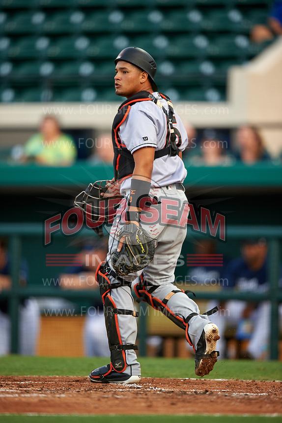 Jupiter Hammerheads catcher Rodrigo Vigil (15) during a game against the Lakeland Flying Tigers on April 17, 2017 at Joker Marchant Stadium in Lakeland, Florida.  Lakeland defeated Jupiter 5-1.  (Mike Janes/Four Seam Images)