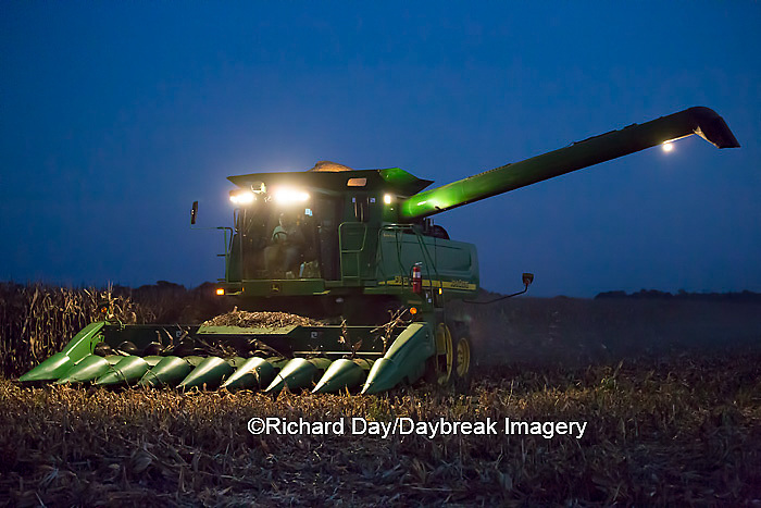 63801-07002 Farmer harvesting corn at night, Marion Co., IL