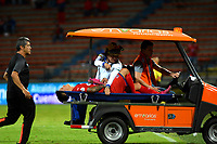 MEDELLÍN-COLOMBIA, 10-10-2019: Germán Ezequiel Cano de Deportivo Independiente Medellín, es retirado en un carro de la cancha al sufrir lesión, durante partido de la fecha 16 entre Deportivo Independiente Medellín y Cúcuta Deportivo, por la Liga Águila II 2019, en el estadio Atanasio Girardot de la ciudad de Medellín. / Germán Ezequiel Cano of Deportivo Independiente Medellín, is removed in a car of the court to suffer injury, during a match for the 16th date between Deportivo Independiente Medellin and Cucuta Deportivo, for the Aguila Leguaje II 2019 at the Atanasio Girardot stadium in Medellin city. Photos: VizzorImage  / León Monsalve / Cont.