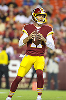 Landover, MD - August 24, 2018: Washington Redskins quarterback Alex Smith (11) attempts a pass during the preseason game between Denver Broncos and Washington Redskins at FedEx Field in Landover, MD.   (Photo by Elliott Brown/Media Images International)