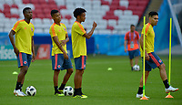 KAZAN - RUSIA, 23-06-2018: Jefferson LERMA, Wilmar BARRIOS, Juan CUADRADO y Radamel FALCAO jugadores de Colombia, durante entrenamiento en Kazan Arena previo al encuentro del Grupo previo al encuentro del grupo H  con Polonia como parte de la Copa Mundo FIFA 2018 Rusia. / Jefferson LERMA, Wilmar BARRIOS, Juan CUADRADO and Radamel FALCAO players of Colombia during training session in KazanArena prior the group H match with Poland as part of the 2018 FIFA World Cup Russia. Photo: VizzorImage / Julian Medina / Cont