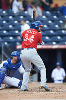 Rowdy Tellez (34) of the Buffalo Bison at bat against the Durham Bulls at Durham Bulls Athletic Park on April 25, 2018 in Allentown, Pennsylvania.  The Bison defeated the Bulls 5-2.  (Brian Westerholt/Four Seam Images)