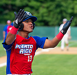 WATERBURY,  CT-072719JS36-- Cyclones Ponce's Robert Candelario (13) celebrates after coming in to score on a wild pitch during their Mickey Mantle World Series game against D-Bat's (Texas) Saturday at Municipal Stadium in Waterbury.  <br /> Jim Shannon Republican-American