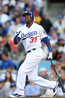 Marcus Thames #33 of the Los Angeles Dodgers bats against the San Francisco Giants at Dodger Stadium in Los Angeles,California on April 3, 2011. Photo by Larry Goren/Four Seam Images