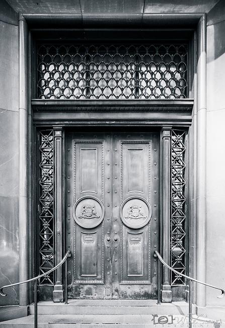 Ornate door to office building in city CBD, Sydney, NSW, Australia