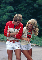 Lee Majors and wife Farrah Fawcett,  Los Angeles, May 1977. Photo by John G. Zimmerman.