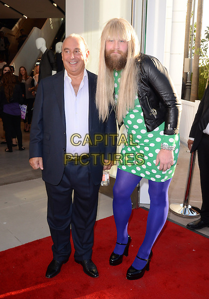 Sir Philip Green, P'Trique.Topshop Topman LA Grand Opening Held At The Grove, Los Angeles, California, USA..February 14th, 2013.full length black suit blue shirt leather jacket white green purple polka dot dress tights beard facial hair wig cross dresser funny.CAP/ADM/KB.©Kevan Brooks/AdMedia/Capital Pictures.