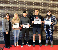 Photo Submitted<br /> MCHS Students selected for the week of Feb.11 through Feb.15 are pictured with principal, Mrs. Holloway (left); freshman, Remington Mitchell; sophomore, Marlon Corado; junior, Michael Williams and senior, Mallory Carpenter.