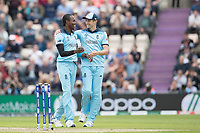 Chris Wakes (England) congratulates Jofra Archer (England) on the wicket of Sheldon Cottrell (West Indies) first ball during England vs West Indies, ICC World Cup Cricket at the Hampshire Bowl on 14th June 2019