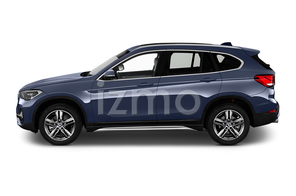 Car Driver side profile view of a 2020 BMW X1 X-Line 5 Door SUV Side View