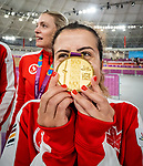 Lima, Peru -  26/August/2019 - Meghan Lemiski and Carla Shibley take the gold in women's individual pursuit B in track cycling at the Parapan Am Games in Lima, Peru. Photo: Dave Holland/Canadian Paralympic Committee.