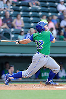 Left fielder Dex Kjerstad (22) of the Lexington Legends in a game against the Greenville Drive on Wednesday, June 4, 2014, at Fluor Field at the West End in Greenville, South Carolina. Lexington won, 9-3. (Tom Priddy/Four Seam Images)