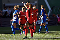 Portland, Oregon - Sunday September 4, 2016: Portland Thorns FC forward Nadia Nadim (9) scores on a penalty kick during a regular season National Women's Soccer League (NWSL) match at Providence Park.