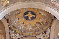 Radiant cross surrounded by nine angel, freco of the dome in the nave of Nanterre Cathedral (Cathédrale Sainte-Geneviève-et-Saint-Maurice de Nanterre), 1924 - 1937, by architects Georges Pradelle and Yves-Marie Froidevaux, Nanterre, Hauts-de-Seine, France. Picture by Manuel Cohen