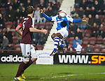 Hearts v St Johnstone.....05.03.13      SPL.Gregory Tade's header is cleared off the line.Picture by Graeme Hart..Copyright Perthshire Picture Agency.Tel: 01738 623350  Mobile: 07990 594431