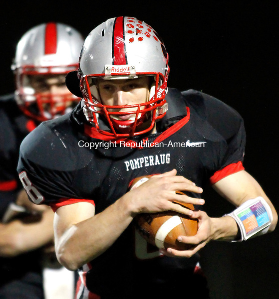 Southbury, CT- 29, October 2010-102910CM01  Pomperaug's James Reel carries the ball Friday night against Joel Barlow in Southbury.  Pomperaug defeated Barlow, 44-13.   Christopher Massa Republican-American