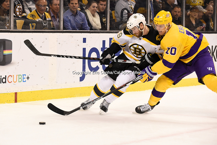 Tuesday, February 9, 2016: Boston Bruins left wing Matt Beleskey (39) battles with Los Angeles Kings defenseman Christian Ehrhoff (10) for the puck during the National Hockey League game between the Los Angeles Kings and the Boston Bruins, held at TD Garden, in Boston, Massachusetts. The Kings defeat the Bruins 9-2. Eric Canha/CSM