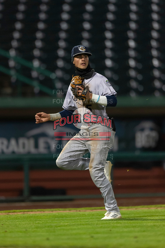 Kane County Cougars third baseman Blaze Alexander (5) during a Midwest League game against the Fort Wayne TinCaps at Parkview Field on April 30, 2019 in Fort Wayne, Indiana. Kane County defeated Fort Wayne 7-4. (Zachary Lucy/Four Seam Images)