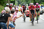 The breakaway group Thomas De Gendt (BEL) Lotto-Soudal, Tom Scully (NZL) EF-Drapac-Cannondale, Michael Schar (SUI) BMC Racing Team and Dimitri Claeys (BEL) Cofidis 3'20'' ahead during Stage 13 of the 2018 Tour de France running 169.5km from Bourg d'Oisans to Valence, France. 20th July 2018. <br /> Picture: ASO/Alex Broadway | Cyclefile<br /> All photos usage must carry mandatory copyright credit (© Cyclefile | ASO/Alex Broadway)