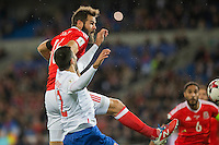 Joe Ledley of Wales heads at goal during the FIFA World Cup Qualifying match between Wales and Serbia at the Cardiff City Stadium, Cardiff, Wales on 12 November 2016. Photo by Mark  Hawkins.