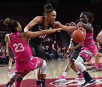 NWA Democrat-Gazette/J.T. WAMPLER Arkansas' Kiara Williams struggles for the ball with Auburn's Crystal Primm (23) and Janiah McKay Sunday Feb. 10, 2019 at Bud Walton Arena in Fayetteville. The Razorbacks lost 75-72.