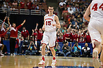 Wisconsin Badgers forward Sam Dekker (15) hits a 3-pointer during  a regional semifinal NCAA college basketball tournament game against the Baylor Bears Thursday, March 27, 2014 in Anaheim, California. The Badgers won 69-52. (Photo by David Stluka)