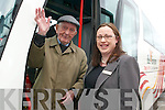 OLDEST PASSENGER: Dan Keating from Ballygamboon,.Castlemaine is the oldest passenger to use Bus.Eireann buses in the county. Dan was at the official opening.of Bus Eireann Bus Station on Monday afternoon pictured.with Blaithin McElligott (Manager of the Station).