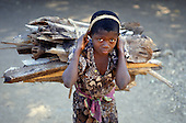 Gombe Stream Reserve, Tanzania; young girl carrying a large bundle of firewood.