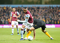 30th October 2019; Villa Park, Birmingham, Midlands, England; English Football League Cup, Carabao Cup, Aston Villa versus Wolverhampton Wanderers; Jonathan Kodjia of Aston Villa turns suddenly with the ball at his feet leaving behind Maximilian Kilman of Wolverhampton Wanderers  - Strictly Editorial Use Only. No use with unauthorized audio, video, data, fixture lists, club/league logos or 'live' services. Online in-match use limited to 120 images, no video emulation. No use in betting, games or single club/league/player publications