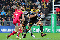 Victor Vito of La Rochelle and James Lang of Harlequins during the Champions Cup match between La Rochelle and Harlequins on January 21, 2018 in La Rochelle, France. (Photo by Eddy Lemaistre/Icon Sport)