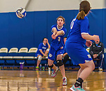 26 October 2014: Yeshiva University Maccabee Middle Blocker Shana Wolfstein (3), a Senior from Burlington,VT, in action against the Maritime College Privateers, at the College of Mount Saint Vincent, in Riverdale, NY. The Privateers defeated the Maccabees 3-0 in the NCAA Division III Women's Volleyball Skyline matchup. Mandatory Credit: Ed Wolfstein Photo *** RAW (NEF) Image File Available ***