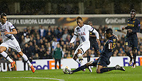 Wallace of Monaco slides in to tackle Clinton N'Jie of Tottenham Hotspur during the UEFA Europa League group match between Tottenham Hotspur and Monaco at White Hart Lane, London, England on 10 December 2015. Photo by Andy Rowland.