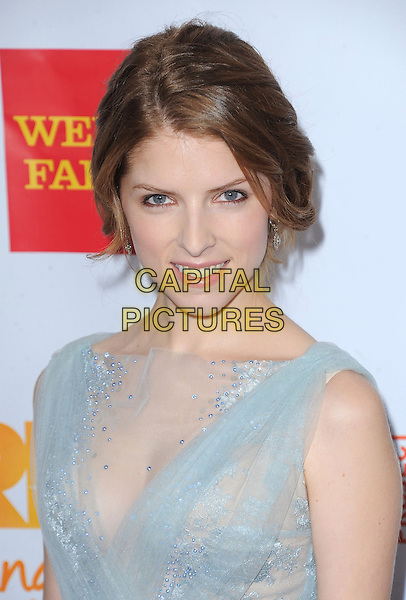 "Anna Kendrick.The Trevor Project's ""Trevor Live"" 2012 held at the Hollywood Palladium, Hollywood, California, USA..December 2nd, 2012.headshot portrait blue sheer chiffon lace sleeveless   .CAP/RKE/DVS.©DVS/RockinExposures/Capital Pictures."