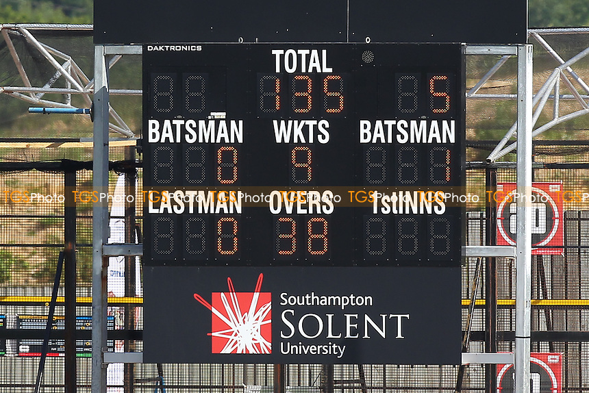 The scoreboard shows that Essex are 135 for 9 wickets, chasing 606 runs to win - Hampshire CCC vs Essex CCC - LV County Championship Division Two Cricket at the Ageas Bowl, West End, Southampton - 17/06/14 - MANDATORY CREDIT: Gavin Ellis/TGSPHOTO - Self billing applies where appropriate - 0845 094 6026 - contact@tgsphoto.co.uk - NO UNPAID USE