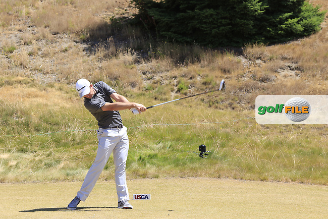 Justin Rose (ENG) tees off the 8th tee during Friday's Round 2 of the 2015 U.S. Open 115th National Championship held at Chambers Bay, Seattle, Washington, USA. 6/19/2015.<br /> Picture: Golffile | Eoin Clarke<br /> <br /> <br /> <br /> <br /> All photo usage must carry mandatory copyright credit (&copy; Golffile | Eoin Clarke)