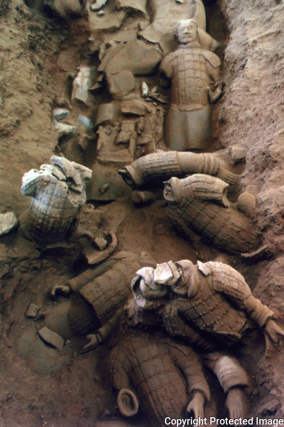 China:  Army of the First Empire of Qin (210 B.C.) --terracotta.  Discovered in 1974 in subterranean vaults near Emperor's tomb.  Great Bronze Age of China exhibit from People's Republic of China.