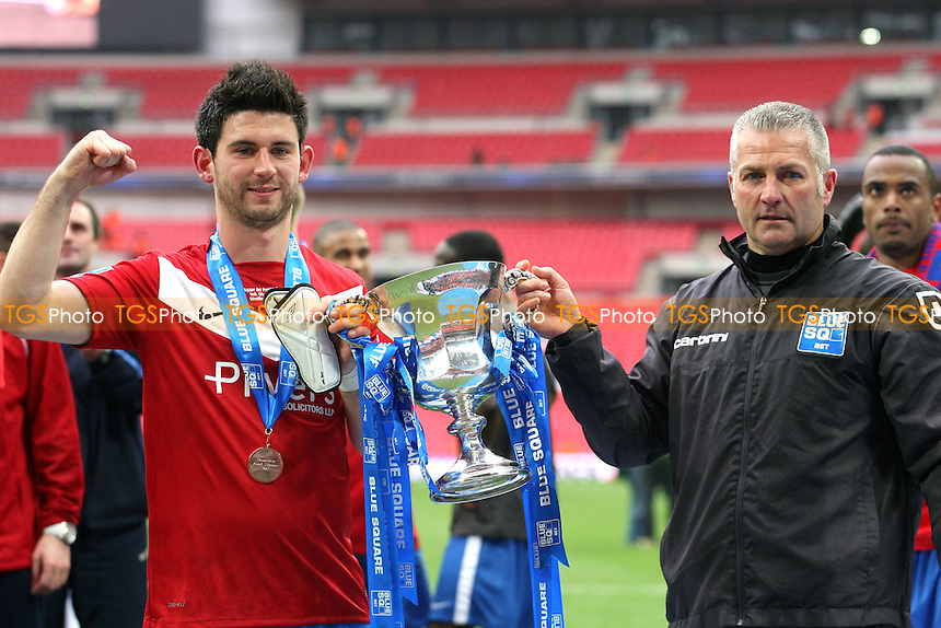 York City manager Gary Mills and Jon Challinor with the trophy -  Luton Town vs York City at the Wembley National Stadium - 20/05/12 - MANDATORY CREDIT: Dave Simpson/TGSPHOTO - Self billing applies where appropriate - 0845 094 6026 - contact@tgsphoto.co.uk - NO UNPAID USE.