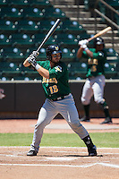 Eric Haase (13) of the Lynchburg Hillcats at bat against the Winston-Salem Dash at BB&T Ballpark on August 2, 2015 in Winston-Salem, North Carolina.  The Hillcats defeated the Dash 8-3.  (Brian Westerholt/Four Seam Images)