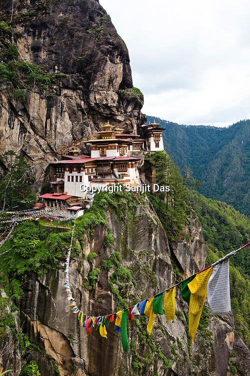 Taktsang Temple, also known as The Tiger's Nest Temple is a prominent Buddhist temple complex, located in the cliffside of the upper Paro valley, Bhutan. This temple complex was first built in 1692, around the Taktsang Senge Samdup cave where Guru Padmasambhava is said to have meditated for three months in the 8th century.