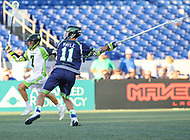 Annapolis, MD - July 7, 2018: Chesapeake Bayhawks Sean Mayle (11) scores a goal during the game between New York Lizards and Chesapeake Bayhawks at Navy-Marine Corps Memorial Stadium in Annapolis, MD.   (Photo by Elliott Brown/Media Images International)