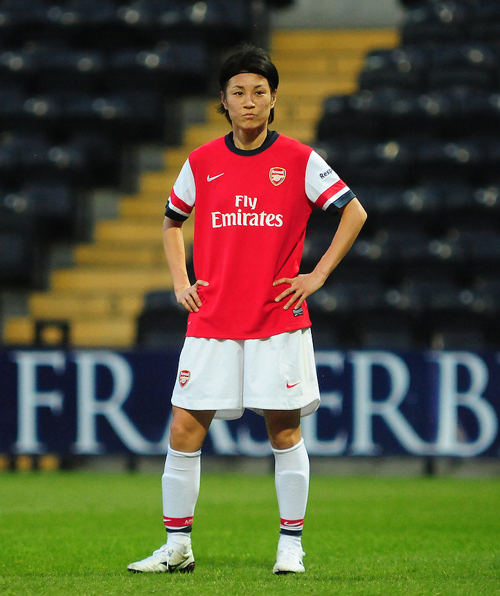 Arsenal Ladies's Yukari Kinga in action during todays match  <br /> <br /> Photo by Chris Vaughan/CameraSport<br /> <br /> Women's Football - FA Women&rsquo;s Super League 1 - Notts County Ladies v Arsenal Ladies - Wednesday 16th April 2014 - Meadow Lane - Nottingham<br /> <br /> &copy; CameraSport - 43 Linden Ave. Countesthorpe. Leicester. England. LE8 5PG - Tel: +44 (0) 116 277 4147 - admin@camerasport.com - www.camerasport.com