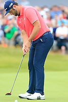 Jon Rahm (ESP) birdie putt on the 17th green during Sunday's Final Round of the Dubai Duty Free Irish Open 2019, held at Lahinch Golf Club, Lahinch, Ireland. 7th July 2019.<br /> Picture: Eoin Clarke | Golffile<br /> <br /> <br /> All photos usage must carry mandatory copyright credit (© Golffile | Eoin Clarke)