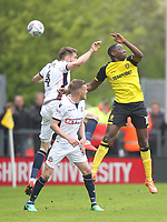 Bolton Wanderers Dorian Dervite in action with Burton Albion's Lucas Atkins<br /> <br /> Photographer Mick Walker/CameraSport<br /> <br /> The EFL Sky Bet Championship - Burton Albion v Bolton Wanderers - Saturday 28th April 2018 - Pirelli Stadium - Burton upon Trent<br /> <br /> World Copyright &copy; 2018 CameraSport. All rights reserved. 43 Linden Ave. Countesthorpe. Leicester. England. LE8 5PG - Tel: +44 (0) 116 277 4147 - admin@camerasport.com - www.camerasport.com