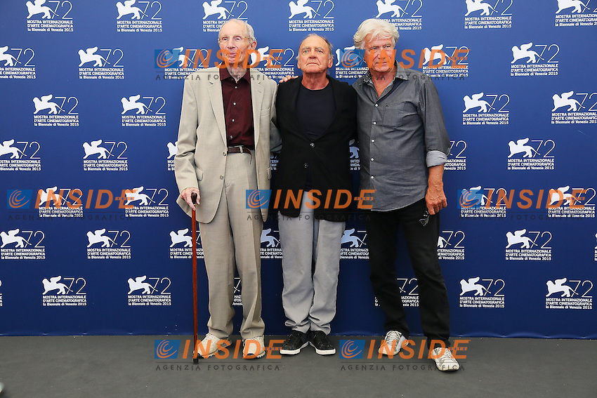 VENICE, ITALY - SEPTEMBER 10:  Heinz Lieven, Bruno Ganz and Jurgen Prochnow attend 'Remember' Photocall during 72nd Venice Film Festival at Palazzo Del Cinema on September 10, 2015 in Venice, Italy. (Mark Cape/insidefoto)