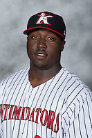 Kannapolis Intimidators first baseman KJ Woods (24) poses for a photo prior to the game against the Delmarva Shorebirds at Kannapolis Intimidators Stadium on June 23, 2016 in Kannapolis, North Carolina.  The game was suspended in the bottom of the 4th inning due to rain.  (Brian Westerholt/Four Seam Images)
