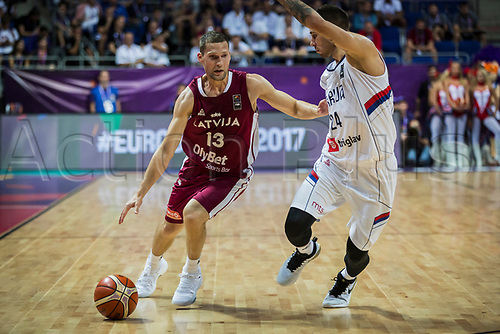 1st September 2017, Fenerbahce Arena, Istanbul, Turkey; FIBA Eurobasket Group D; Serbia versus Latvia; Point Guard Janis Strelnieks #13 of Latvia in action against Guard Stefan Jovic #24 of Serbia during the match