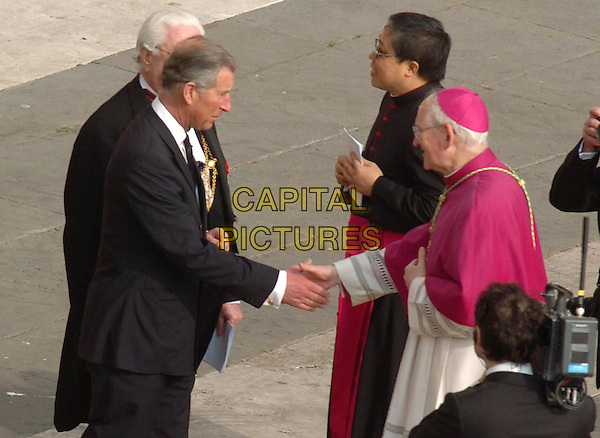 HRH PRINCE CHARLES.Funeral of Pope John Paul the Second, St. Peter's Square,Vatican City, Rome, Italy,.April 8th 2005..half length royal shaking hands Prince of Wales.Ref: OME.www.capitalpictures.com.sales@capitalpictures.com.©Omega/Capital Pictures.
