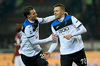 25th January 2020; Olympic Grande Torino Stadium, Turin, Piedmont, Italy; Serie A Football, Torino versus Atalanta; Josip Ilicic of Atalanta celebrates with Hans Hateboer after scoring the goal for 0-5 in the 55th minute